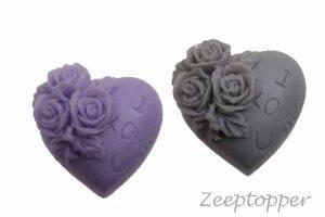 zeep hart met bloemen (Z-1408)