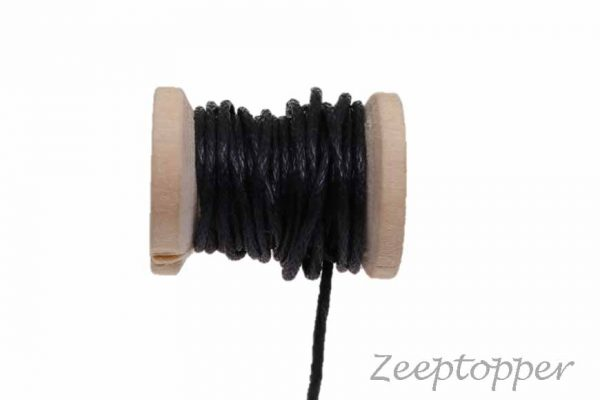 DW-0002 waxkoord - katoendraad zwart